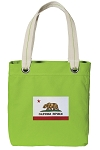 California Flag Tote Bag RICH COTTON CANVAS Green