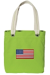 American Flag Tote Bag RICH COTTON CANVAS Green