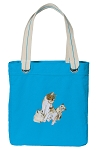 Cute Cats Tote Bag RICH COTTON CANVAS Turquoise