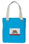 California Flag Tote Bag RICH COTTON CANVAS Turquoise