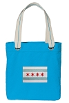 Chicago Flag Tote Bag RICH COTTON CANVAS Turquoise