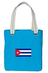 Cuban Flag Tote Bag RICH COTTON CANVAS Turquoise