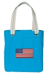 American Flag Tote Bag RICH COTTON CANVAS Turquoise