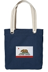 California Flag Tote Bag RICH COTTON CANVAS Navy