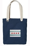 Chicago Flag Tote Bag RICH COTTON CANVAS Navy