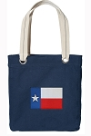 Texas Flag Tote Bag RICH COTTON CANVAS Navy