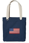 American Flag Tote Bag RICH COTTON CANVAS Navy