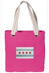Chicago Flag Tote Bag RICH COTTON CANVAS Pink