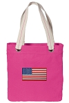 American Flag Tote Bag RICH COTTON CANVAS Pink