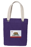 California Flag Tote Bag RICH COTTON CANVAS Purple