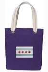 Chicago Flag Tote Bag RICH COTTON CANVAS Purple