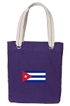 Cuban Flag Tote Bag RICH COTTON CANVAS Purple