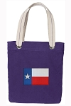 Texas Flag Tote Bag RICH COTTON CANVAS Purple
