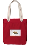 California Flag Tote Bag RICH COTTON CANVAS Red