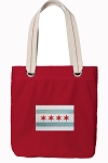 Chicago Flag Tote Bag RICH COTTON CANVAS Red