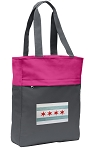 Chicago Flag Tote Bag Everyday Carryall Pink