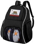 California Soccer Backpack or California Flag Volleyball Bag for Boys or Girls