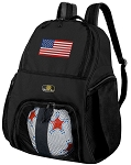 American Flag Soccer Backpack or USA Flag Volleyball Bag for Boys or Girls