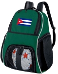 Cuba Soccer Ball Backpack or Cuban Flag Volleyball Bag Green for Boys or Girls