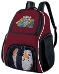 Crazy Cat Soccer Ball Backpack Bag Maroon