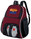 Arizona Flag Soccer Backpack or Arizona Volleyball Bag Maroon