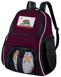 California Soccer Backpack or California Flag Volleyball Bag Maroon