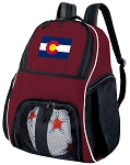Colorado Flag Soccer Backpack or Colorado Volleyball Bag Maroon