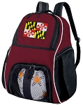 Maryland Flag Soccer Backpack or Maryland Volleyball Bag Maroon