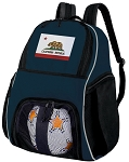 California Soccer Ball Backpack or California Flag Volleyball Practice Gear Bag Navy