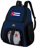 Cuba Soccer Ball Backpack or Cuban Flag Volleyball Practice Gear Bag Navy