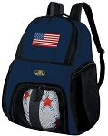 American Flag Soccer Ball Backpack or USA Flag Volleyball Practice Gear Bag Navy