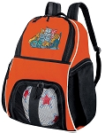 Cats Soccer Ball Backpack or Cat Volleyball Gear Bag Orange