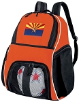 Arizona Flag Soccer Ball Backpack or Arizona Volleyball Gear Bag Orange