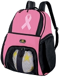 Girls Pink Ribbon Soccer Backpack or Pink Ribbon Volleyball Bag