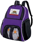 California Flag Soccer Backpack or California Volleyball Practice Bag Purple
