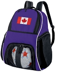 Canada Soccer Backpack or Canada Flag Volleyball Practice Bag Purple