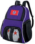 Tennessee Flag Soccer Backpack or Tennessee Volleyball Practice Bag Purple