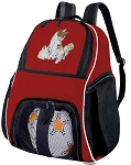 Cute Cats Soccer Ball Backpack Bag Red