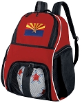 Arizona Soccer Backpack or Arizona Flag Volleyball Practice Bag Red Boys or Girls