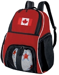 Canadadian Flag Soccer Ball Backpack Bag Red