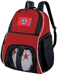 Tennessee Flag Soccer Backpack or Tennessee Volleyball Practice Bag Red Boys or Girls