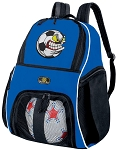 Soccer Nut Soccer Backpack or Soccer Fan Volleyball Practice Bag Boys or Girls Blue