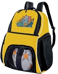 Crazy Cat Soccer Ball Backpack Bag Yellow