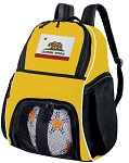 California Soccer Ball Backpack or California Flag Volleyball For Girls or Boys Practice