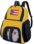 Puerto Rico Soccer Ball Backpack Bag Yellow