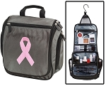 Pink Ribbon Toiletry Bag or Shaving Kit Gray