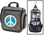 Peace Sign Toiletry Bag or Shaving Kit Gray