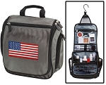 American Flag Toiletry Bag or Shaving Kit Gray