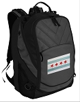 Chicago Flag Deluxe Laptop Backpack Black