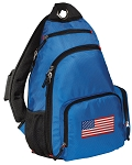 American Flag Sling Backpack Blue